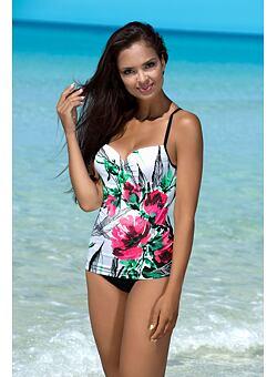36dbaacab1 Új Ingyenes szállítás Hayley fürdőruha tankini, fekete-fehér rózsaszín  virágokkal