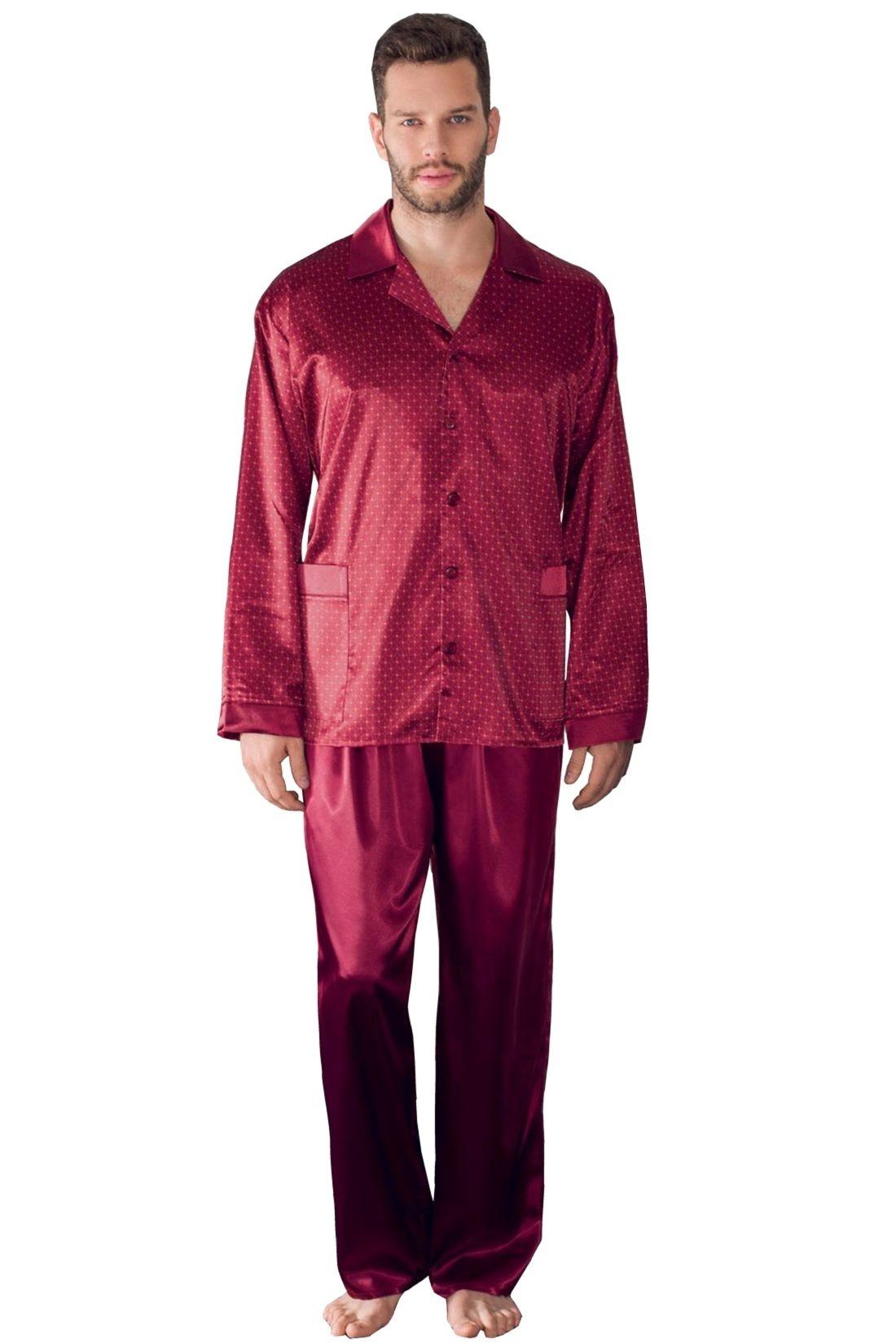 Charles férfi szatén pizsama, borszín