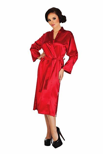 Classic női szatén köntös, piros