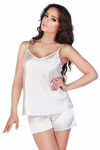 Classic női szatén pizsama, fehér